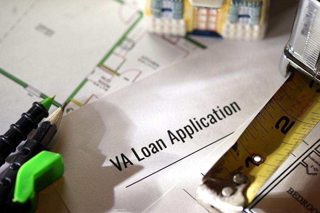 VA loan application on document