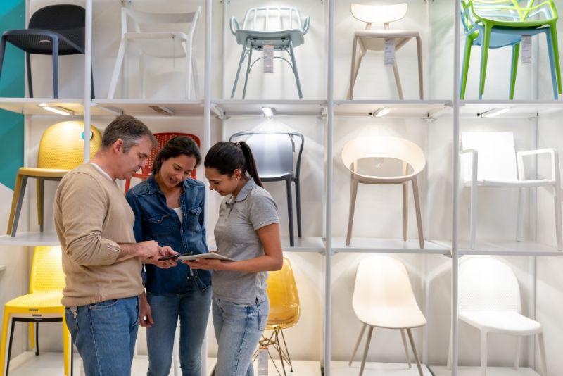 a family in a furniture shop