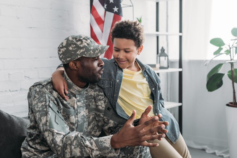 military personnel and his kid